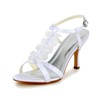 Satin Wedding Shoes Ruched Open Toe Kitten Heel Women's Outdoor
