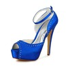 Stiletto Heel Wedding Shoes Buckle Satin Women's Wedding Round Toe