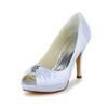 Stiletto Heel Wedding Shoes Satin Ruched Sandals Girls' Graduation