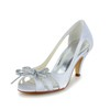 Women's Wedding Shoes Daily Peep Toe Kitten Heel Satin Rhinestone