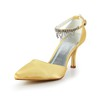 Satin Pumps/Heels Women's Pointed Toe Rhinestone Honeymoon Kitten Heel