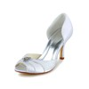 Daily Wedding Shoes Sandals Rhinestone Women's Satin Kitten Heel
