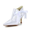 Lace-Up Wedding Shoes Pointed Toe Kitten Heel Satin Girls' Wedding