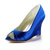 Round Toe Wedges Average Satin Ruched Party & Evening Wedge Heel