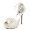 Silk Like Satin Wedding Shoes Buckle Open Toe Stiletto Heel Women's Daily