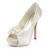 Peep Toe Platforms Women's Silk Like Satin Stiletto Heel Satin Flower Honeymoon