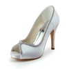 Round Toe Pumps/Heels Rhinestone Silk Like Satin Daily Kitten Heel Women's