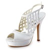 Peep Toe Platforms Hollow-Out Silk Like Satin Girls' Stiletto Heel Outdoor