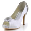 Peep Toe Platforms Flower Women's Kitten Heel Silk Like Satin Outdoor