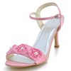 Kitten Heel Wedding Shoes Graduation Girls' Sandals Flower Silk Like Satin