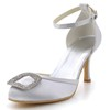 Rhinestone Wedding Shoes Silk Like Satin Low Heel Round Toe Office & Career Girls'