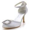 Rhinestone Wedding Shoes Silk Like Satin Low Heel Round Toe Office & Career Girls'