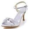Women's Wedding Shoes Rhinestone Silk Like Satin Kitten Heel Sandals Dress
