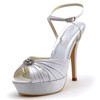Women's Sandals Stiletto Heel Ruched Wedding Open Toe Silk Like Satin