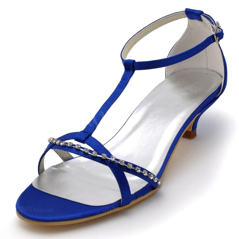 Royal Blue Pumps Heels Sandals Chain Dress Silk Like Satin