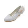 Closed Toe Pumps/Heels Silk Like Satin Low Heel Flower Honeymoon Women's