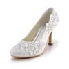 Kitten Heel Wedding Shoes Closed Toe Lace Office & Career Women's Silk Like Satin