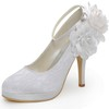 Kitten Heel Pumps/Heels Silk Like Satin Flower Dress Women's Closed Toe