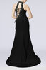 Modern Column Sleeveless Lace up Sweep Train Rhinestone Evening Dresses