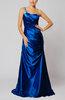 Elegant One Shoulder Sleeveless Silk Like Satin Floor Length Evening Dresses