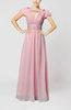 Romantic A-line Scoop Short Sleeve Zipper Ruching Wedding Guest Dresses