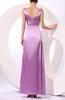 Simple V-neck Elastic Woven Satin Floor Length Ruching Prom Dresses