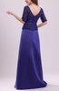 Modest V-neck Short Sleeve Backless Brush Train Prom Dresses