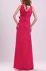 Modest V-neck Zip up Chiffon Floor Length Ribbon Evening Dresses