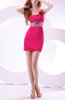 Casual Column Sleeveless Zip up Short Sequin Graduation Dresses