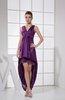 Modern A-line Scalloped Edge Zip up Elastic Woven Satin Short Party Dresses