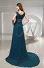 Modest A-line Square Zipper Chapel Train Ruching Evening Dresses