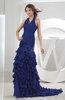 Gorgeous Halter Sleeveless Zip up Chiffon Evening Dresses
