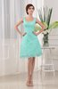 Modest A-line Sleeveless Zip up Knee Length Lace Bridesmaid Dresses