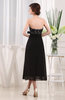 Vintage Strapless Zipper Chiffon Tea Length Lace Little Black Dresses