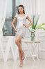 Antique Column V-neck Short Sleeve Zipper Mini Homecoming Dresses