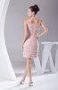 Modest Portrait Sleeveless Short Beading Prom Dresses