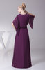 Elegant A-line Elbow Length Sleeve Zip up Floor Length Evening Dresses