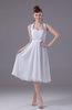Informal Beach A-line Halter Sleeveless Tea Length Bridal Gowns