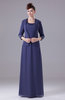 Plain Scoop 3/4 Length Sleeve Zipper Floor Length Beaded Evening Dresses