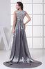Gorgeous Boat Sleeveless Zip up Elastic Woven Satin Court Train Prom Dresses
