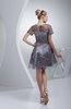 Cute Sheer Short Sleeve Zip up Elastic Woven Satin Homecoming Dresses