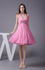 Elegant Halter Sleeveless Zip up Knee Length Flower Prom Dresses