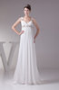Elegant Church Empire Sleeveless Lace up Chiffon Paillette Bridal Gowns