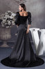 Glamorous Church Square Long Sleeve Silk Like Satin Chapel Train Ruching Bridal Gowns