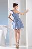 Simple A-line One Shoulder Mini Pleated Bridesmaid Dresses