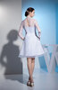 Simple A-line Illusion Long Sleeve Knee Length Ribbon Homecoming Dresses