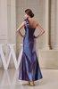 Modest Column One Shoulder Sleeveless Zip up Taffeta Prom Dresses