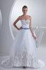 Modern Hall Sleeveless Zip up Court Train Paillette Bridal Gowns