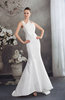Classic Hall Zipper Taffeta Sweep Train Sequin Bridal Gowns