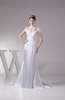Elegant Hall Fishtail Illusion Short Sleeve Court Train Bridal Gowns